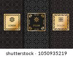 set of black luxury seamless... | Shutterstock .eps vector #1050935219
