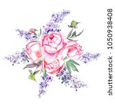 hand painted peonies and lilacs ... | Shutterstock . vector #1050938408