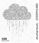 cloud computing. binary code of ... | Shutterstock .eps vector #1050941480