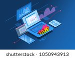 laptop monitor showing... | Shutterstock .eps vector #1050943913