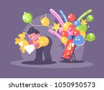 seller of balloons with helium. ... | Shutterstock .eps vector #1050950573