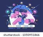 friends sing in karaoke club.... | Shutterstock .eps vector #1050951866