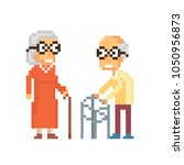 aged lady and gentleman. old... | Shutterstock .eps vector #1050956873