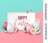 easter background with spring... | Shutterstock .eps vector #1050959456
