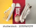 canvas shoes high angle view | Shutterstock . vector #1050969299