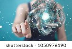 businesswoman on blurred... | Shutterstock . vector #1050976190