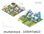 set of isolated isometric city... | Shutterstock .eps vector #1050976823