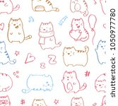 seamless pattern with funny... | Shutterstock .eps vector #1050977780