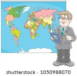 geography teacher with a... | Shutterstock .eps vector #1050988070