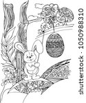 hand drawn bunny and decorative ...