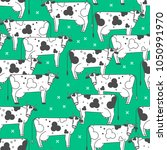 seamless pattern with cows.... | Shutterstock .eps vector #1050991970