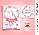 unicorn  little pony theme... | Shutterstock .eps vector #1050993446