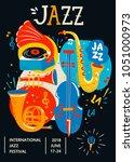 poster for jazz. creative... | Shutterstock .eps vector #1051000973