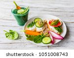 delicious and healthy... | Shutterstock . vector #1051008743