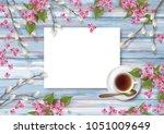 spring top view wooden...   Shutterstock .eps vector #1051009649