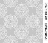 white floral ornament on gray... | Shutterstock .eps vector #1051013750