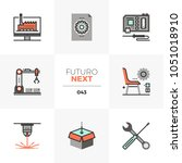 modern flat icons set of fab... | Shutterstock .eps vector #1051018910