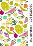 bright pattern with cute fruits.... | Shutterstock .eps vector #1051020080