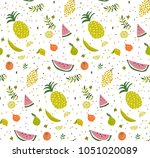 bright pattern with cute fruits.... | Shutterstock .eps vector #1051020089