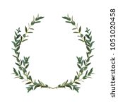 thyme leaf green wreath vector... | Shutterstock .eps vector #1051020458