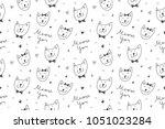 cats in love  vector seamless... | Shutterstock .eps vector #1051023284