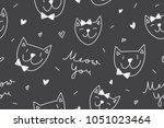 cats in love  vector seamless... | Shutterstock .eps vector #1051023464