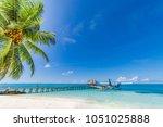 maldives beach. beautiful blue... | Shutterstock . vector #1051025888