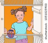 pop art little girl sees tasty... | Shutterstock .eps vector #1051025903