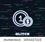 glitch effect. coins line icon. ... | Shutterstock .eps vector #1051027223