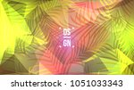 exotic palm leaves on geometric ... | Shutterstock .eps vector #1051033343