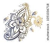 paisley hand drawn pattern | Shutterstock .eps vector #1051036718