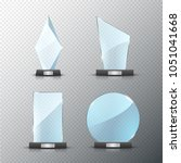 glass trophy award set isolated.... | Shutterstock .eps vector #1051041668
