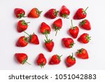 strawberry pattern top view... | Shutterstock . vector #1051042883