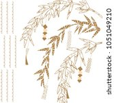 japanese pattern vector. gold... | Shutterstock .eps vector #1051049210