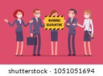 office quarantine warning. team ...   Shutterstock .eps vector #1051051694