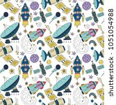 seamless vector pattern with... | Shutterstock .eps vector #1051054988
