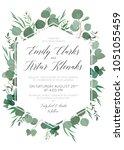 wedding floral invite ... | Shutterstock .eps vector #1051055459