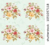 seamless floral pattern with... | Shutterstock .eps vector #1051057118