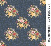 seamless floral pattern with... | Shutterstock .eps vector #1051057124