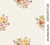 seamless floral pattern with... | Shutterstock .eps vector #1051057130