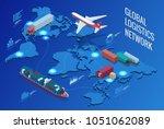 global logistics network flat... | Shutterstock . vector #1051062089