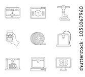 3d printer innovation icon set. ...