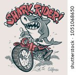 shark rider on motorcycle... | Shutterstock .eps vector #1051068650