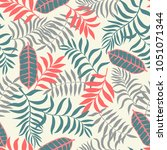 tropical background with palm... | Shutterstock .eps vector #1051071344