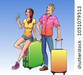 man and woman travelers with... | Shutterstock . vector #1051079513