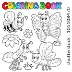 coloring book cute bugs 2  ... | Shutterstock .eps vector #105108470
