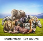 group of animals on grass | Shutterstock . vector #105109298