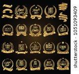 golden laurel wreath with... | Shutterstock .eps vector #1051093409