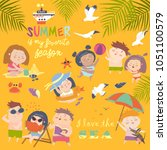summer childs outdoor... | Shutterstock .eps vector #1051100579