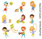 cute boys and girls doing... | Shutterstock .eps vector #1051101596
